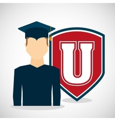 university student graduation emblem vector image