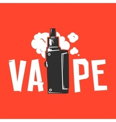 Vape device and smoke on red vector
