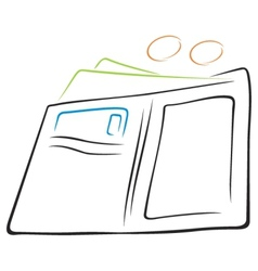 wallet with cash vector image