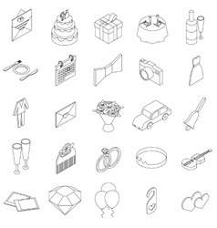 Wedding icons set isometric 3d style vector image