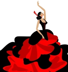woman and flamenco vector image vector image