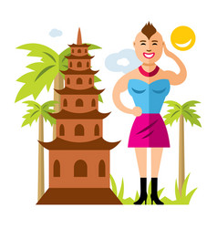 Thailand culture flat style colorful vector