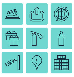 set of 9 travel icons includes present video vector image