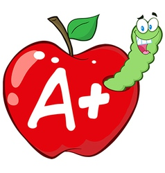 Cartoon apple with worm vector image