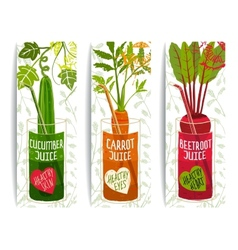 Healthy Vegetables Juices Design Collection on vector image