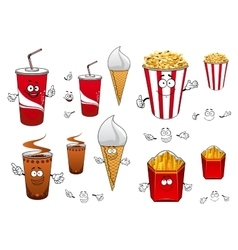 Fast food and drinks cartoon characters vector