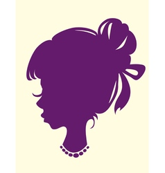 Silhouette of a female head with hair beam vector