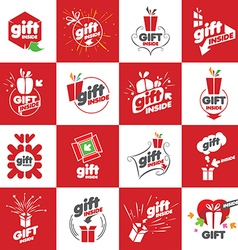 A large set of logos for gifts vector