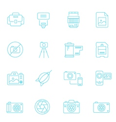Thin lines icon set - camera and accessory vector