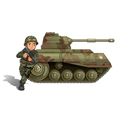 A soldier near the armour tank vector
