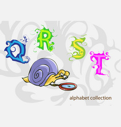 Alphabet with mr snail vector