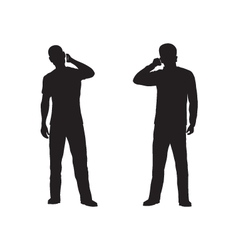 Black silhouette of the person with phone vector