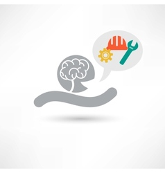Brain and tools icon vector image