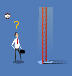 Businessman standing near ladder vector