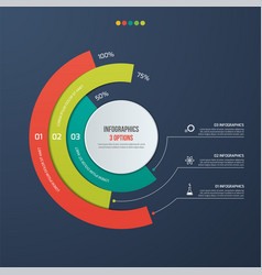 Circle informative infographic design 3 options vector
