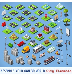 City 01 COMPLETE Set Isometric vector image vector image