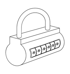 Computer password icon in outline style isolated vector