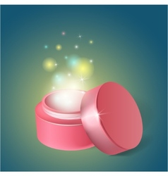 Cosmetics jar with a miracle cream vector