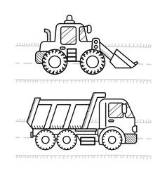 Dump truck excavator vector