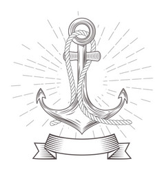 emblem with vintage anchor with rope and banner vector image vector image