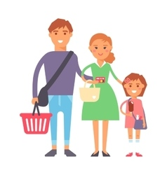 Family in supermarket portrait vector