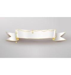 Festive white ribbon banner vector