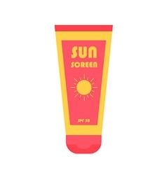 Flat design sun screen bottle icon vector image