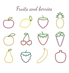 Fruits and berries outline icons set vector image vector image
