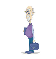 Funny bald grandfather with gray hair and beard in vector