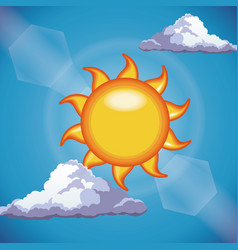 funny sun shine clouds sky light vector image