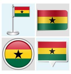 Ghana flag - sticker button label flagstaff vector image