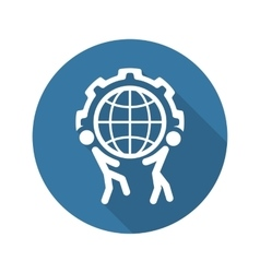 Global support icon flat design vector