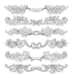 Hand drawn vintage page dividers with decorative vector image