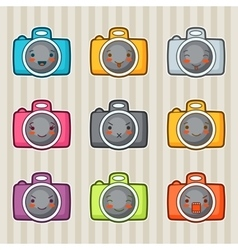 Kawaii doodle cameras set of gadgets vector