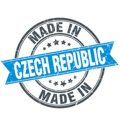 Made in czech republic blue round vintage stamp vector