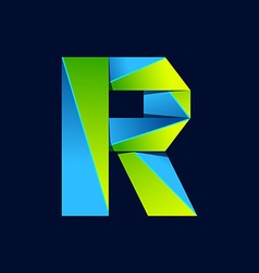 R letter line colorful logo abstract trendy green vector