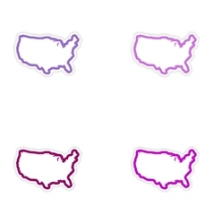 Set of stickers map of usa on white background vector