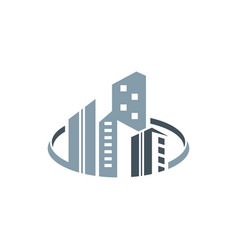 skyscrapers building real estate logo vector image