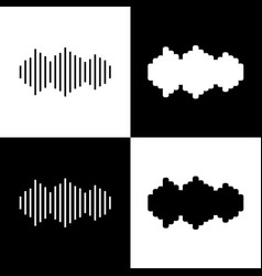 Sound waves icon black and white icons vector