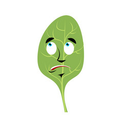 Spinach surprised emoji green leaves astonished vector