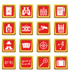 Spy tools icons set red vector