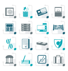 Stylized bank business finance and office icons vector