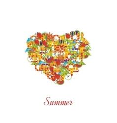 Summer holiday flat icons set vector