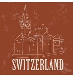 Switzerland landmarks retro styled image vector