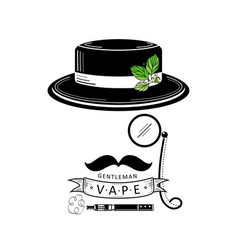 vape shop logo design with stylized smoking man vector image vector image