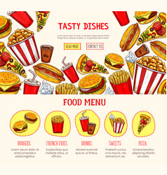 Web page template for fast food restaurant vector