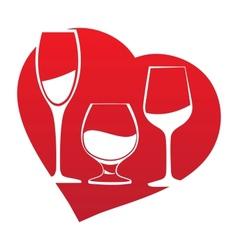 Wine glass inside heart frame vector image vector image