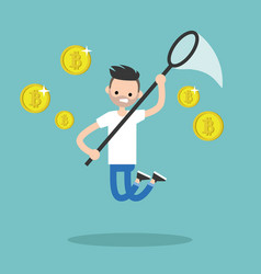 young male character mining bitcoins conceptual vector image