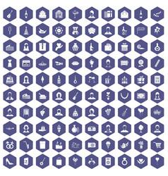 100 birthday icons hexagon purple vector