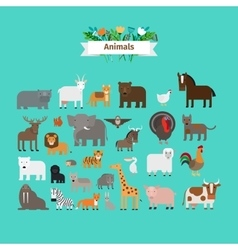 Animals flat design icons vector image